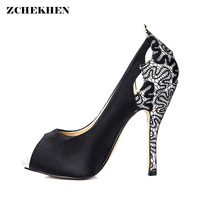 Women Black White Silk Lace Embroidery Design Pumps Shoes Fashion Party Wedding Stiletto Peep Toe High