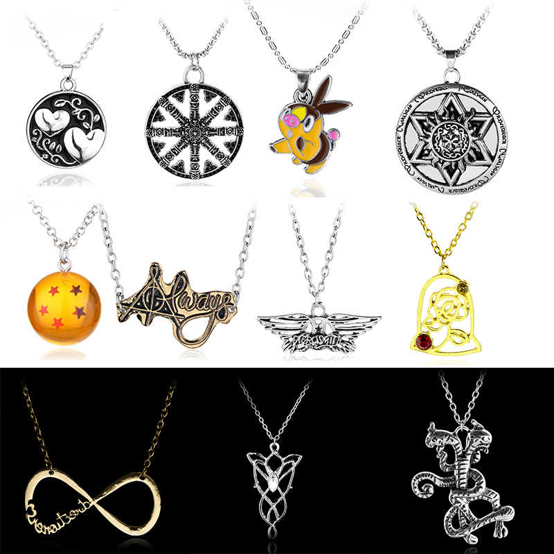 Cheaper Price Eye of Horus Dragon Ball Z Necklace Beauty and the Beast Infinity Symbol Necklace Women Statement Necklace Jewelry