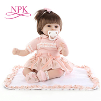 NPK40CM reborn baby doll lovely soft silicone vinyl doll lifelike accompany newborn doll for girl bedtime toy birthday gift