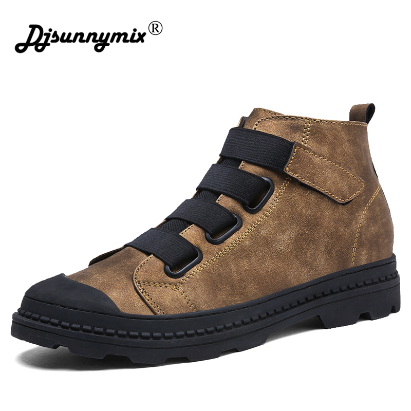DJSUNNYMIX hombres botines Retro Martin botas hombre microfibra de cuero alto Top zapatos antideslizantes zapatos ocasionales al aire libre