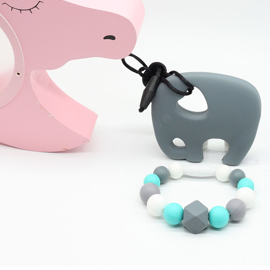 1pcs Baby Pacifier Elephant hand ring Silicone Teether Teething Chewable Newborn Nursing Teether Beads BPA Free Pastel 9 Colors