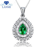 Pear 5x7mm Solid 18Kt White Gold Emerald Wedding Pendant Baguette Diamond Design Engagement Gemstone Jewelry for Wife