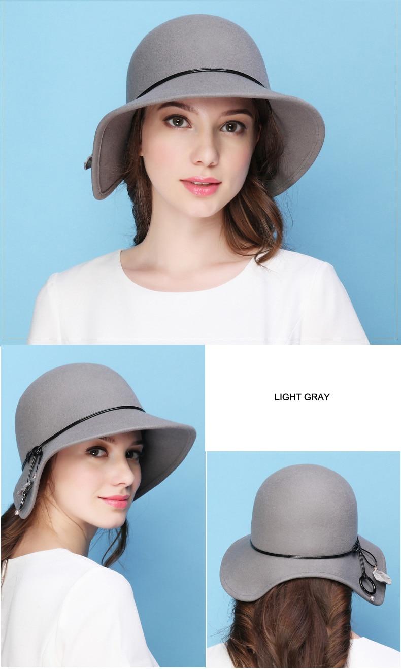 FS mujer sombrero Fedora de lana sombrero de ala ancha sombreros de ... 1a06be273e8