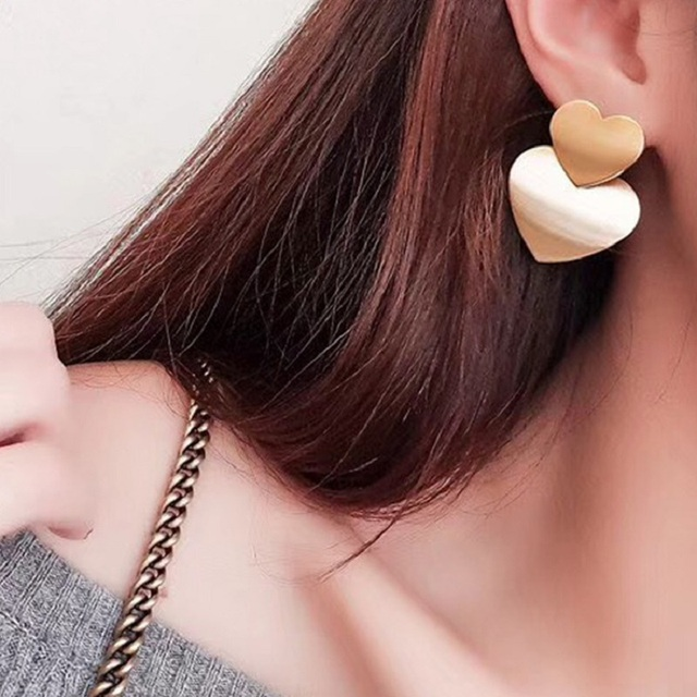 Double Heart Earrings For Women Metal Statement Long Drop Earring Gold Color 2018 Fashion Jewelry Party Pendientes Accessories