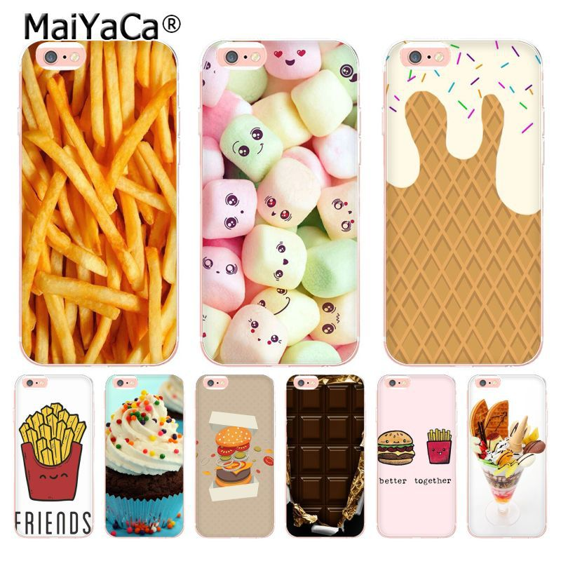 MaiYaCa food Chocolates French fries Icecream Painted Coque Phone Case for Apple iPhone 8 7 6 6S Plus X 5 5S SE 5C 4 4S Cover