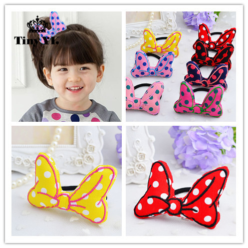 Korean Girls Hair Accessories Polka Dot Bow Hair Rope Elastic Hair Bands Meninas Vestir Tiara De Cabelo Hair Ring m mism new arrival korean style girls hair elastics big bow dot flora ponytail rubber hair rope hair accessories scrunchy women