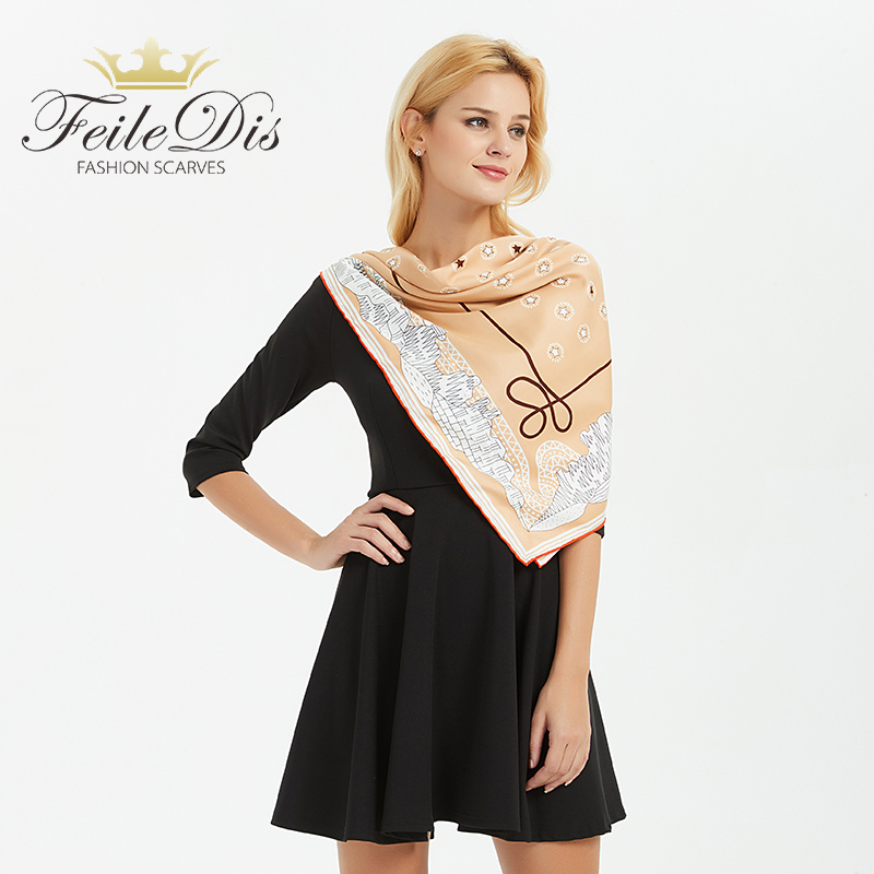 [FEILEDIS]High Quality Silk Ladies Scarf Large Square Scarves New Female Elegant Large Silk Scarf Fashion Ladies Accessories 129