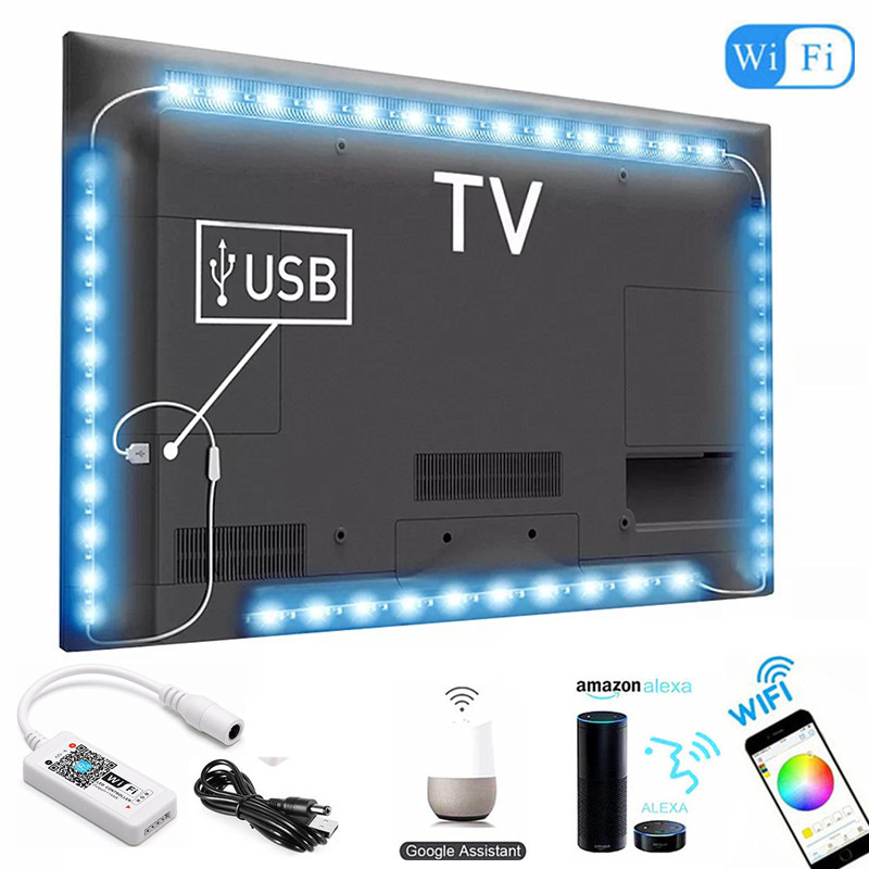 DC 5V USB WIFI TV Light Computer Screen Back Bias Tape Light 5050 RGB LED TV Back Lighting Alexa Google Home Sound Smart Control