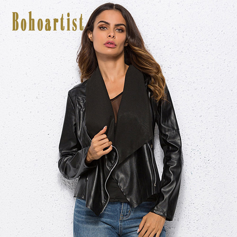 Bohoartist PU Leather   Jacket   Bohemian Black Zipper Women   Basic     Jacket   Coat Punk Fashion Turn-down Collar Female Warm Outwear