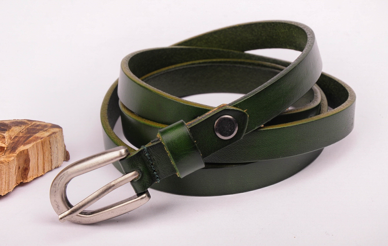 BE14 Green New Women's Genuine Leather Thin Cowhide Belt Waistband Pin Buckle