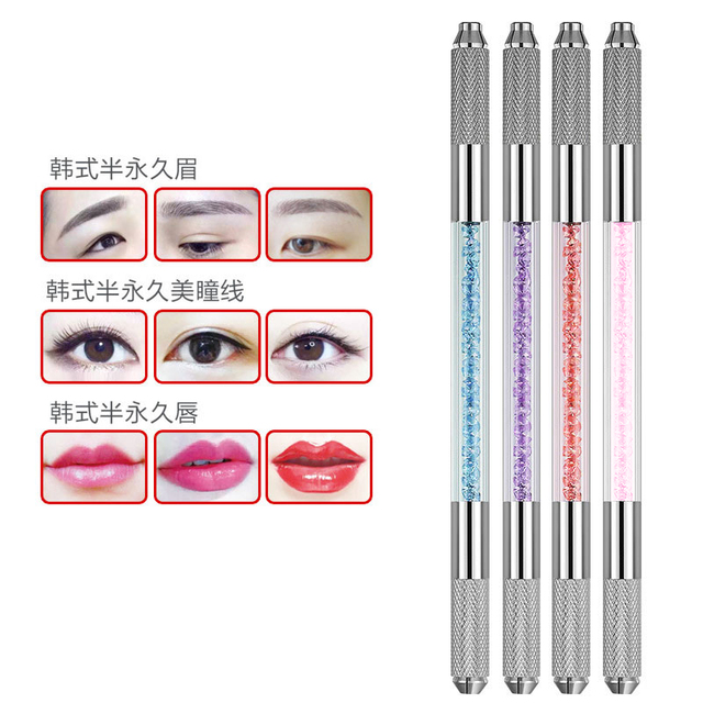 Wholesale stainless steel permanent makeup manual tattoo microblading pen Manual Double Crystal Acrylic Tattoo Pen 2