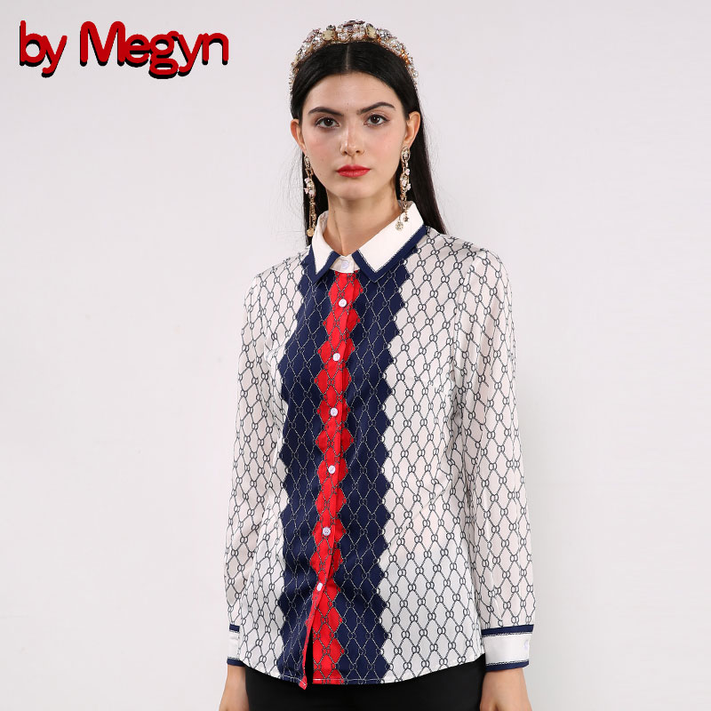 by Megyn plus size women long sleeve blouse printed shirt 2018 new arrival women fashion casual white blouse chemise femme