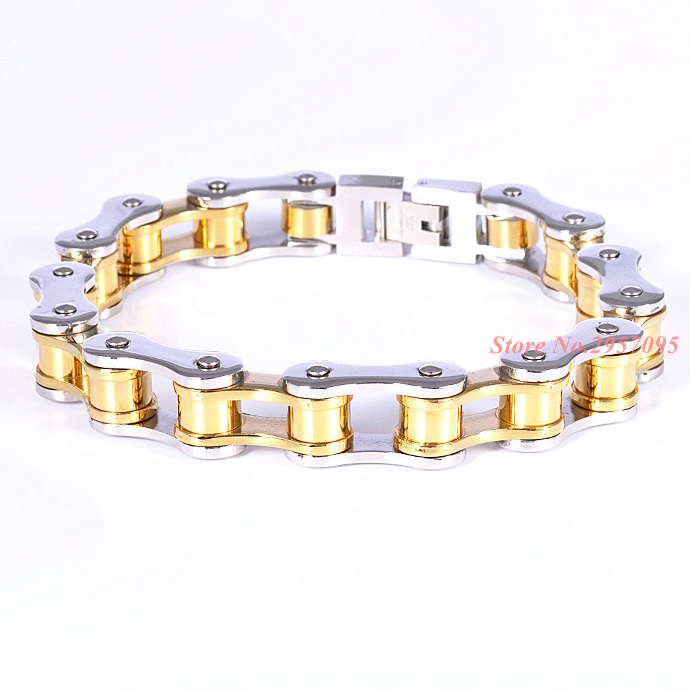 215cm & 10mm Wide Silver Stainless Steel Silver Gold Bracelet Bangles For  Men Punk Cool
