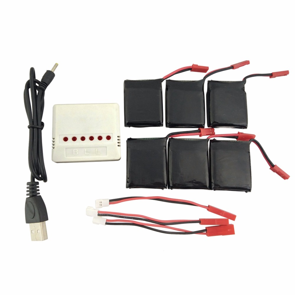6pcs 3.7V 650mAh LiPo Batteries Rc Quadcopter Spare Parts and 6 in 1 Battery Charger JST connector for Q1012 X8tw X8 Q9 new arrival for dji phantom 4 rc quadcopter spare parts 3 in 1 battery charger plates input 17 5v 7a
