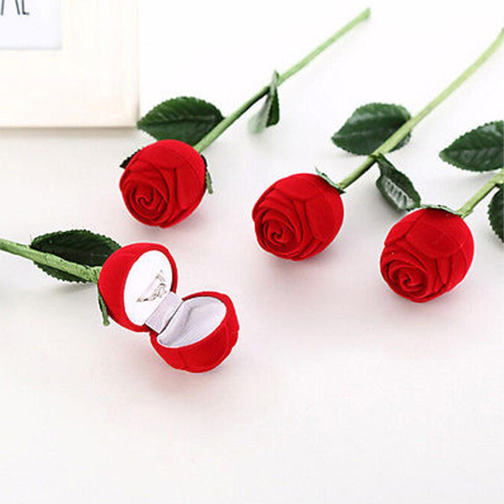 Dropshipping Decoration Hot New Elegant Fashion Red Rose Flower Jewelry Gift Ring