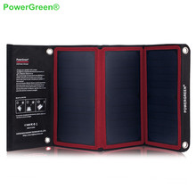 PowerGreen Solar Charger Panel Kits 21 Watts Foldable 5V 2A Solar Power Bank USB Phone Charger for LG for Samsung for Xiaomi