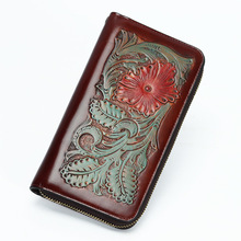 Cow Leather Wallets Carving Embossing Purses Women Men Long Clutch Wallet Card Holder Vegetable Tanned Leather Birthday Present