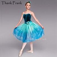 Velvet Long Ballet Dress For Girls Sequin Ballerina Dresses Kids Costume Children Adult Flower Ballet Dance Clothes Set C494