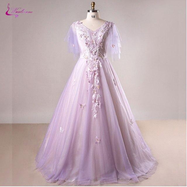 e54b3901a3795 US $227.58  Waulizane Fabulous Grid Yarn V Neck A Line Wedding Dresses  Beading 3D Appliques Lace Floral Print Plus Size Dresses Bride Dress-in  Wedding ...