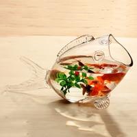 Fish glass bowl clear Transparent Glass Fish shaped Fish Tank Aquarium Fish Tank Glass Home Living Room Office Craft Ornaments