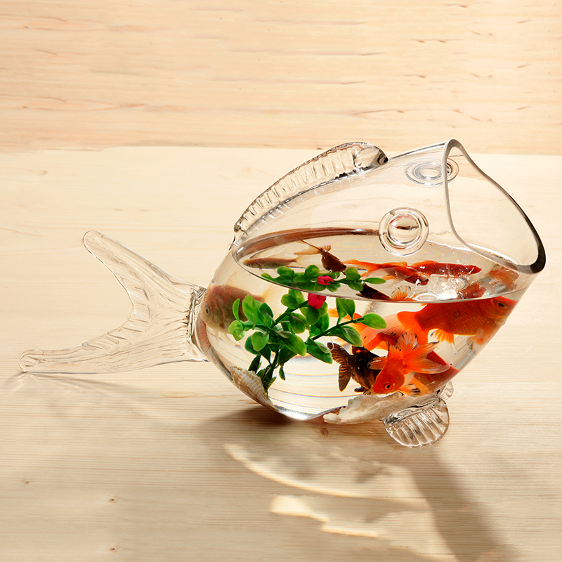 Bol en verre de poisson clair Transparent en verre en forme de poisson Aquarium réservoir de poisson en verre maison salon bureau artisanat ornements