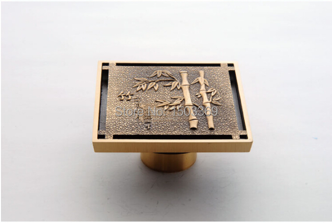 ФОТО high quality Total Brass bronze finished against the stench art cover bathroom Floor Drain Waste Drain 10*10 size  Floor Drain