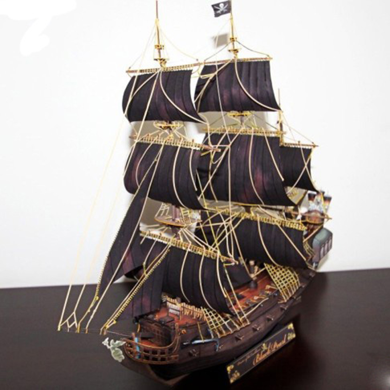 Paper Model DIY Ship Pirates Of The Caribbean Black Pearl Ancient Sailing Sailboat Warship Pepercraft Ship Funs Gifts