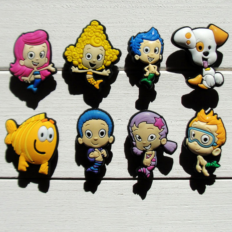 80pcs Bubble Guppies Cartoon PVC Shoe Buckles Shoe Charms Fit Croc For Shoes&wristbands With Holes Furniture Accessories Gifts