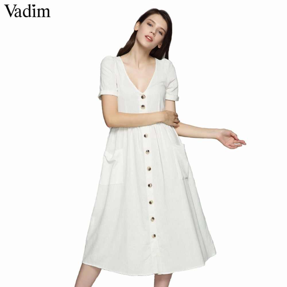 Vadim femmes sexy col en V solide robe midi poches boutons à manches courtes plissé dames décontracté marque chic robes vestidos QZ3650