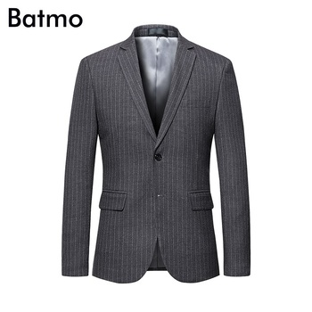 Batmo 2018 new arrival autumn high quality striped casual blazers men,men's gray blazer,blue jackets men plus-size M-6XL 999