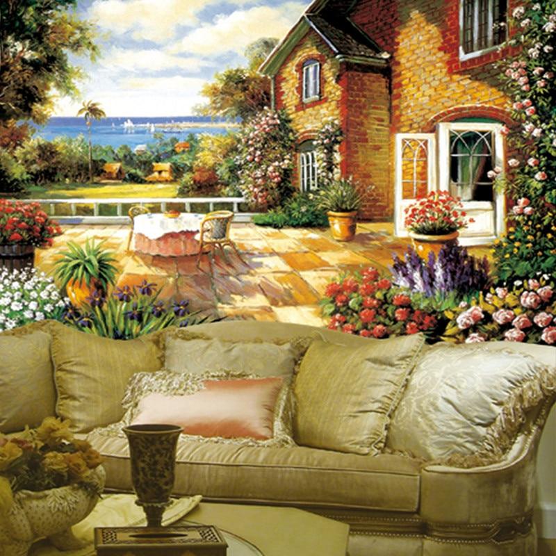 Фото Custom vintage wallpaper art painting garden room living room TV backdrop wallpaper for home decor vinyl wallpaper 3D wallpaper