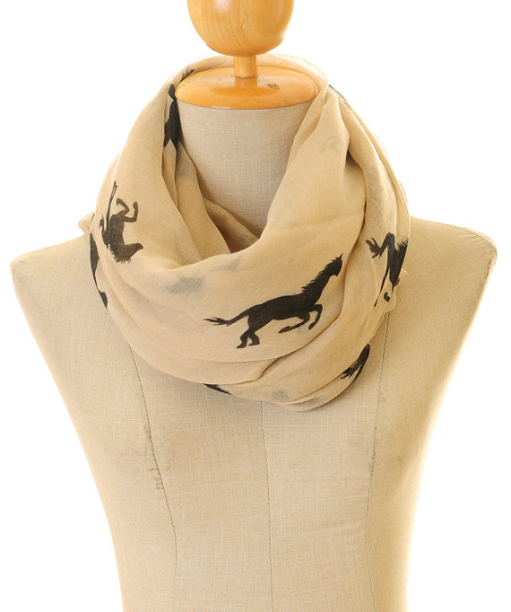 Khaki Voile Horse Infinity   Scarf   Summer Shawl Loop Circle Hijab   Scarves     Wraps