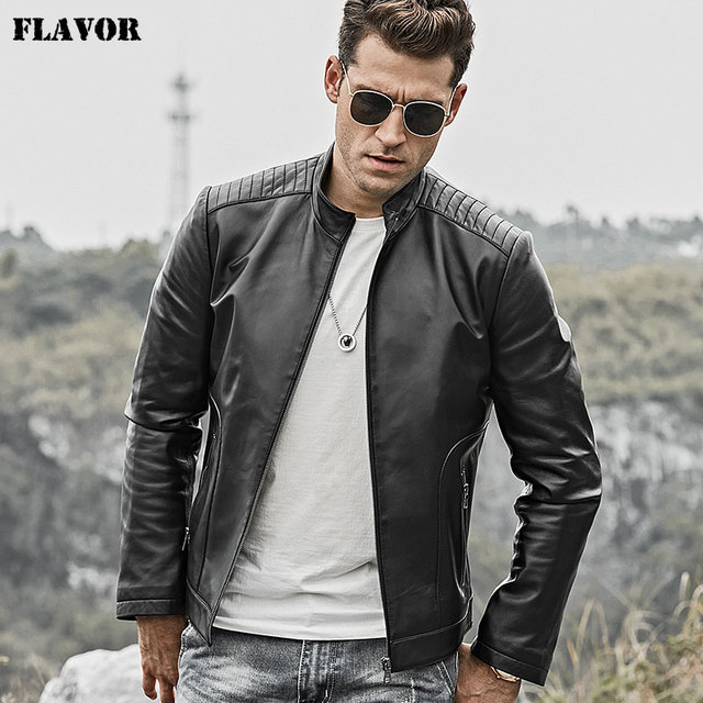 7bd4eeba3f FLAVOR Men's Real Leather Jacket Men Lambskin Motorcycle Genuine Nappa  Leather Coat Black with Standing Collar -in Genuine Leather Coats from  Men's ...