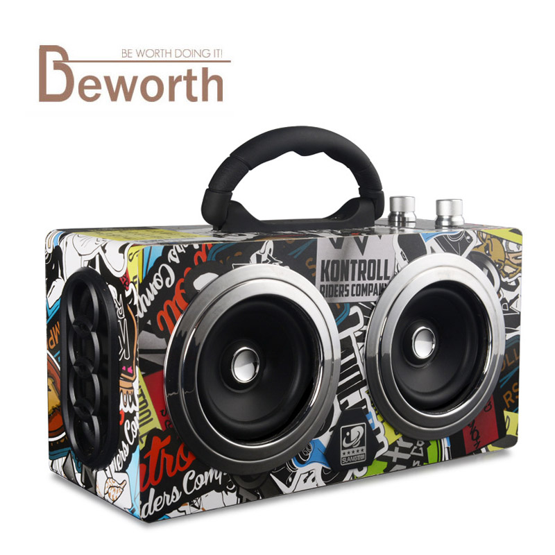 Portable Wireless Wooden Bluetooth Speaker 20W Dual Stereo Dancing Loudspeakers Super Bass Subwooofer Outdoor with FM