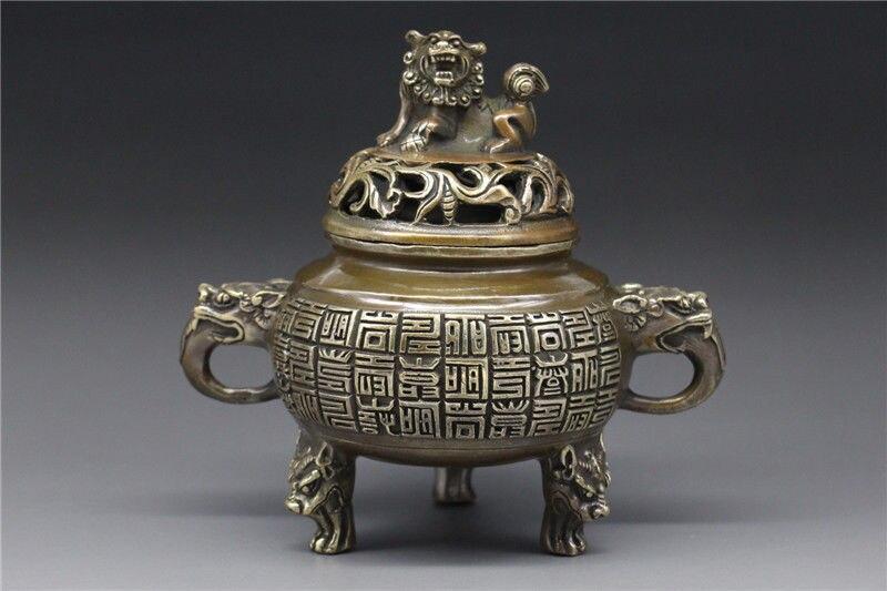 Chine Bronze travail manuel brûleur d'encens w tête de dragon lion encensoir qian longue marque de guérison médecine décoration 100% laiton Bronze