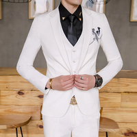 Men's Suit Three piece Casual Slim Spring and Summer Fashion Trend Gentleman Suit Suit White Banquet Wedding