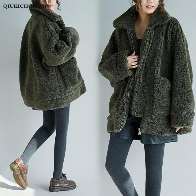 341b0fcfab9 Autumn Winter Thick Warm Polar Fleece Jacket Women Zipper Fly Plus Size  Fuzzy Jacket Oversized Long Sherpa Coats With Pockets