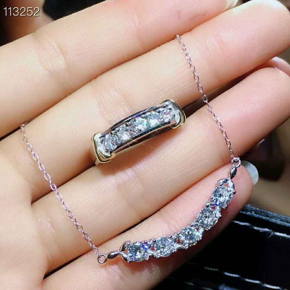 MeiBaPJ Real Moissanite Gemstone Jewelry Set 925 Pure Silver Ring Pendant Necklace 2 Pieces Suits Wedding Jewelry for Women