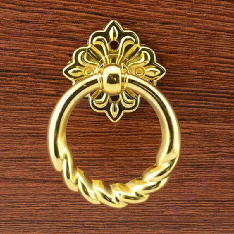 Drop ring kitchen cabinet knob handle gold  drawer pull 39mm dresser cupboard wardrobe furniture knobs pulls handles luxury gold czech crystal round cabinet door knobs and handles furnitures cupboard wardrobe drawer pull handle