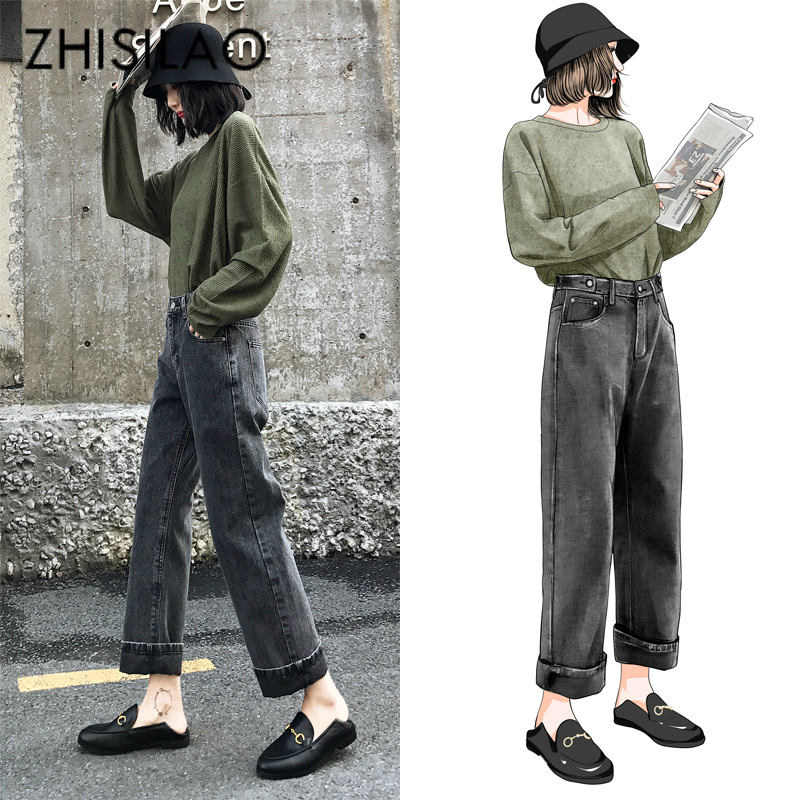 Women Wide Leg   Jeans   Boyfriends   Jeans   Vintage High Waist Pants Black Loose Plus Size   Jeans   Feminino Denim Pants Retro 2019