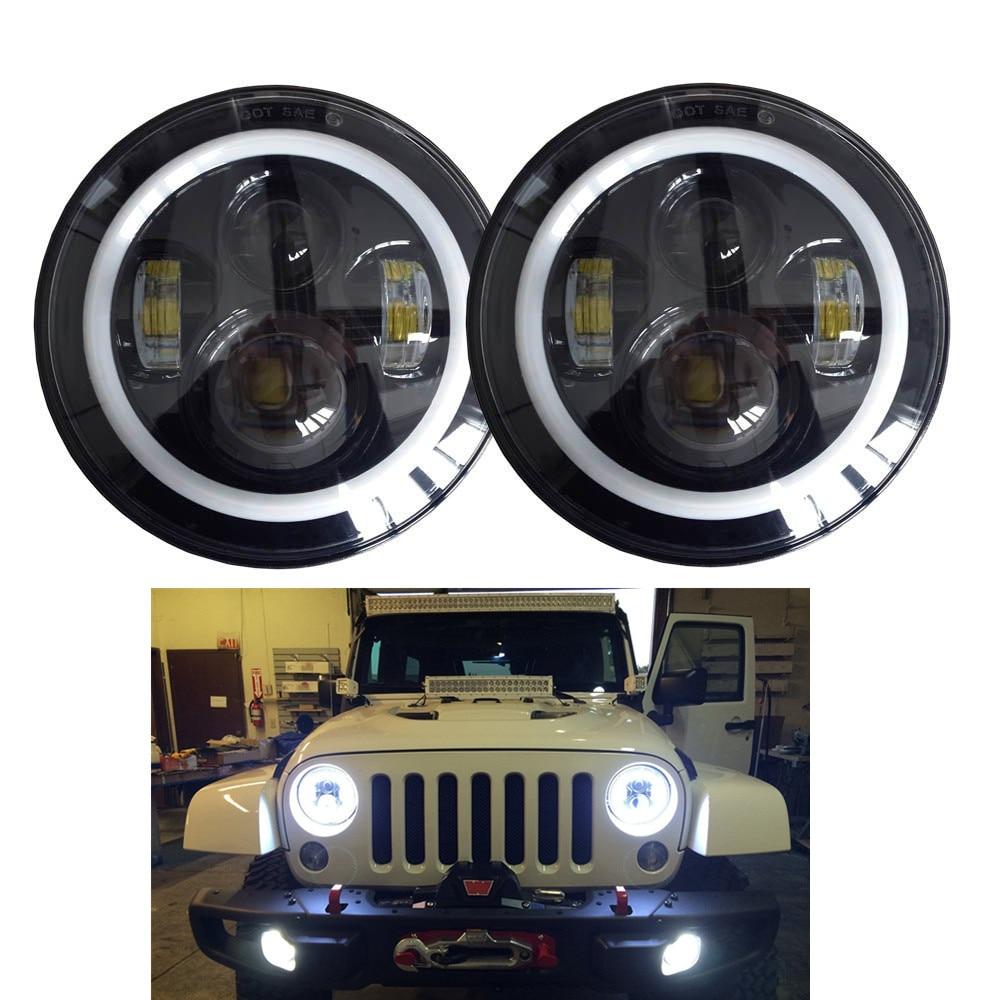 Dvojice j022 DOT 40w 7 palců hi / lo LED světlomet pro wrangler JK CJ TJ LJ s autokosmetikou proti blikání auto produkty Lantsun