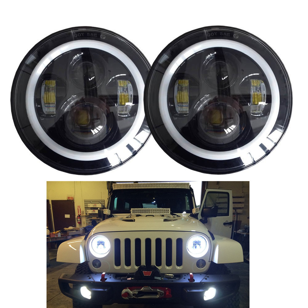 Pair j022 lantsun DOT 40w 7inch hi/lo Led projector headlight for wrangler JK CJ TJ LJ with canbus anti flicker