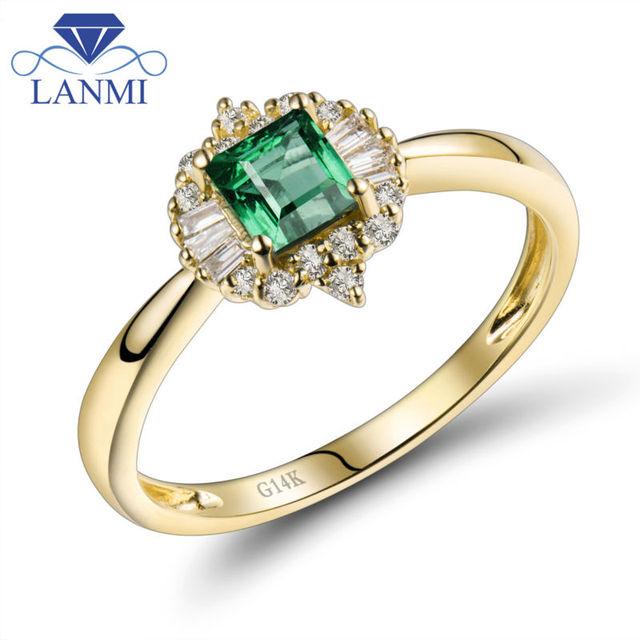 Принцесса Cut 4.1 мм одноцветное 14kt Желтое золото натуральный изумруд Обручение кольцо Ювелирные изделия с алмазами wu280