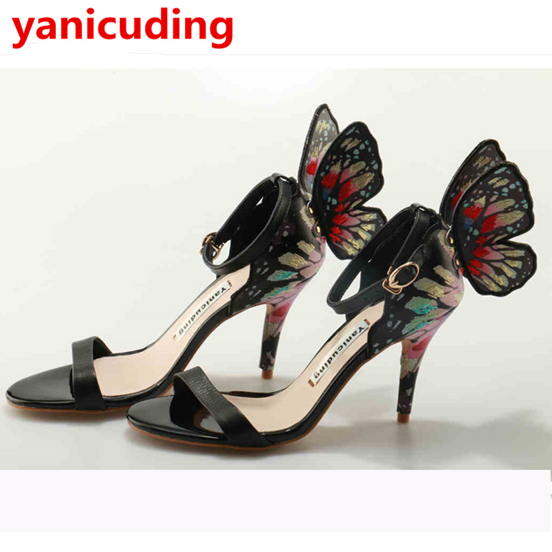 Peep Toe Women Sandals Butterfly Wings Decor Buckle Zapatos Mujer Luxury Brand High Thin Heel Party Wedding Star Runway Shoes pointed toe butterfly knot decor women pumps high heel sapato feminino chic brand runway star shoes bow tie women zapatos mujer