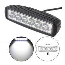 For J/EEP 12 volt 2pcs 6 Inch Flood single row 18W 4x4 truck offroad car LED work Light Bar