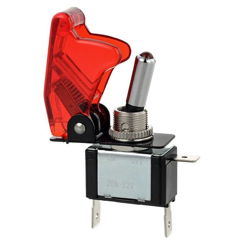 Kill Switch carbon con tapa basculante para coche 12v interruptor blancos LED 20a nos