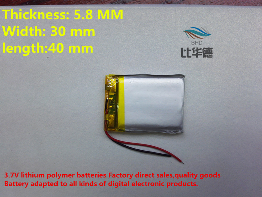 (free shipping)Polymer lithium ion battery 3.7 V, 583040 can be customized wholesale CE FCC ROHS MSDS quality certification