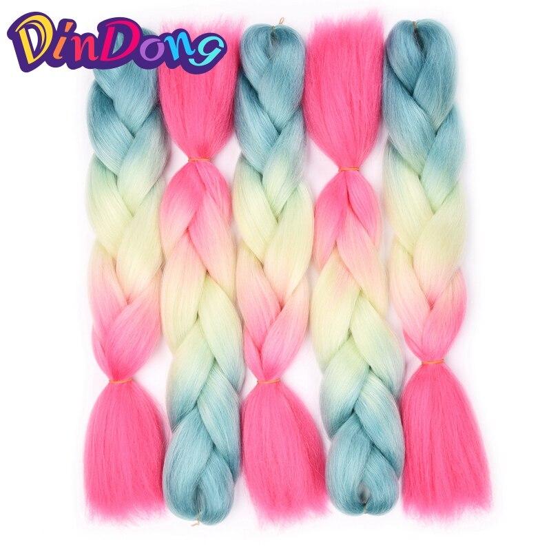 DinDong три тона Цвета Ombre Моноволокно гигантские косы 24 дюймов химическое вязаный крючком плетения волос