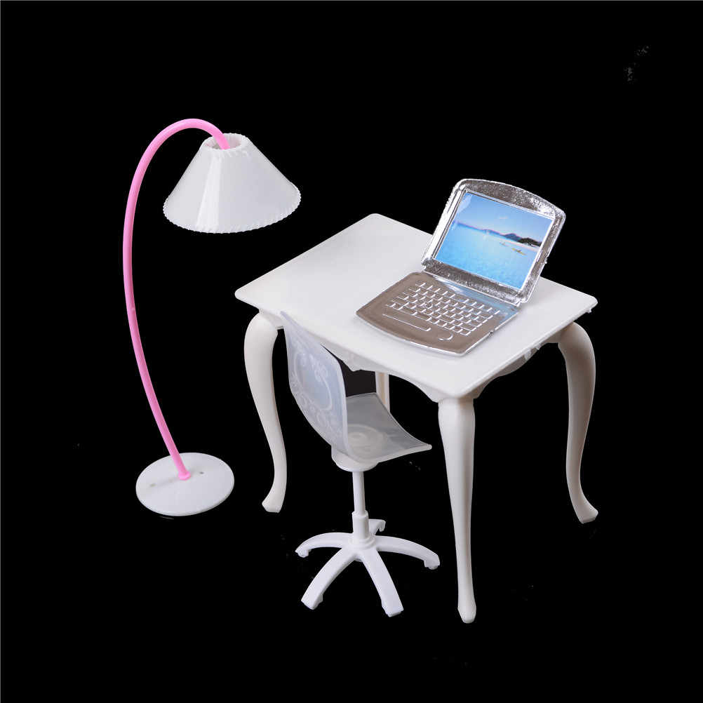 Study Table And Chair 1set Cute Miniature Furniture Chair Study Desk Computer Pc Table With Lamp Girl Play House Doll Accessories Children Toy
