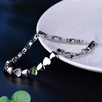 GULICX Fashion Woman Bracelet Heart Design Stainless Steel Health Care Elements Bracelet Hand Chain Jewelry